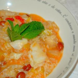 Arroz malandro de feijão e supremas de bacalhau